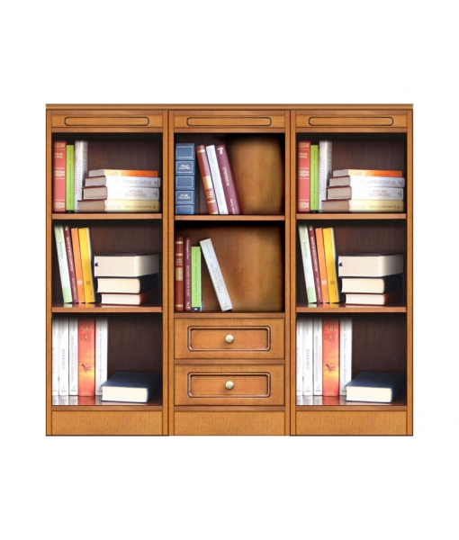 Composizione libreria bassa modulare con 2 cassetti e vani a giorno, COMPOS-3E