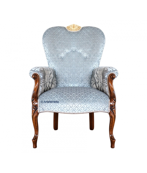 Poltrona con braccioli da salotto con tessuto azzurro e cresta dorata, Arteferretto