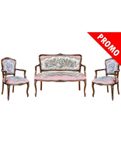 Salottino classico, 2 poltrone + divanetto in legno con tessuto Romeo e Giulietta, Art. GM-Romj