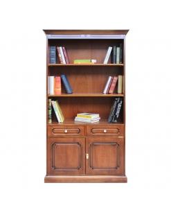 Libreria alta da salotto, ufficio con 2 cassetti e 2 ante