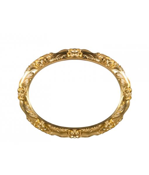 Specchiera ovale da salotto / ingresso in foglia oro