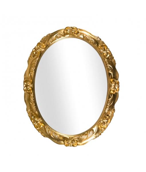 Specchiera ovale in foglia oro