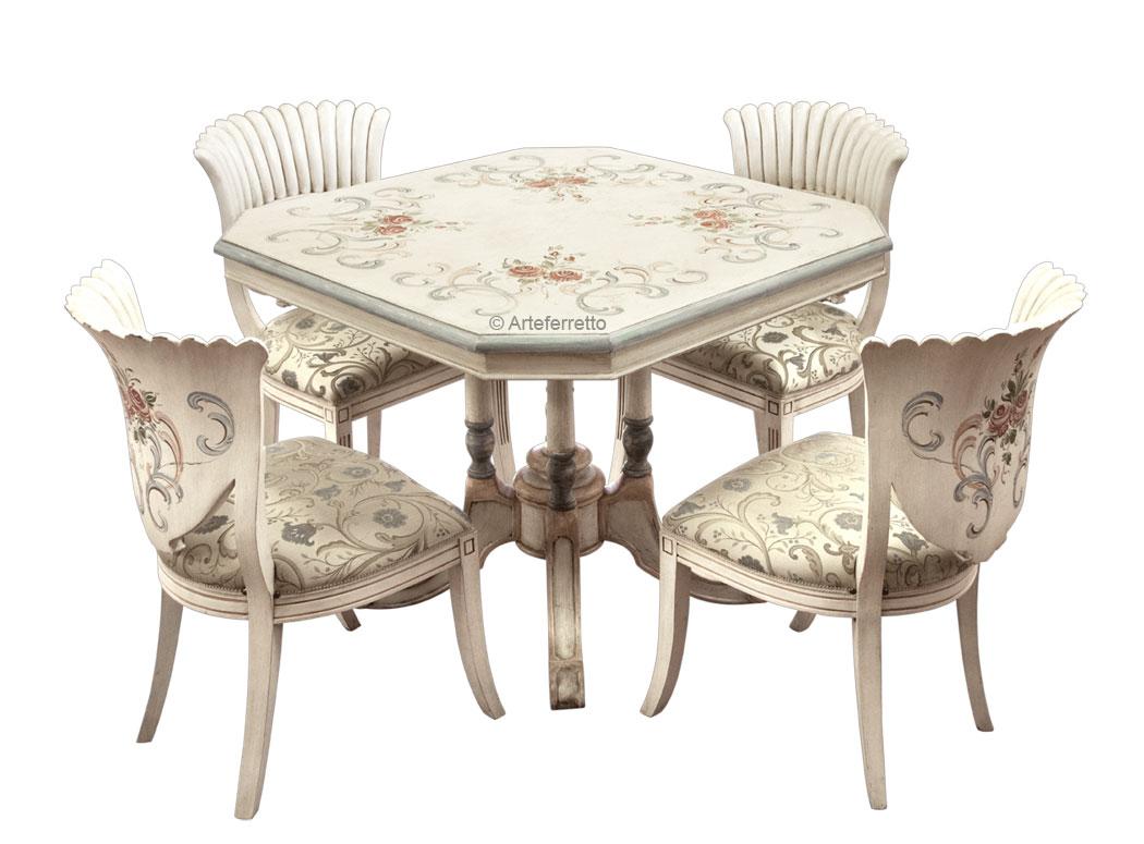 Sedie Decorate A Mano.Gruppo Tavolo Con 4 Sedie Decorate Pezzo Unico Arteferretto