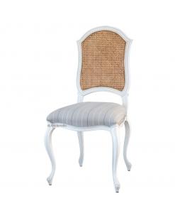 Sedia classica da sala da pranzo con seduta imbottita e schienale in paglia di Vienna