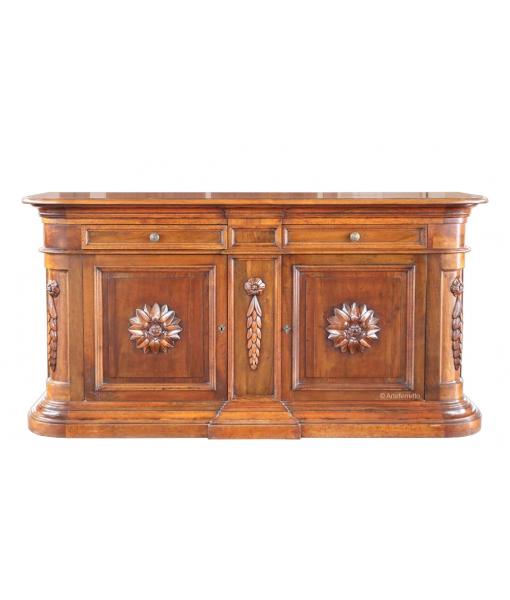 Credenzone in legno massello con 2 ante e 2 cassetti, alta qualità made in Italy, SM-39