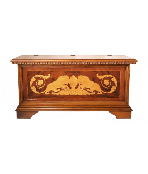 Cassapanca in legno intarsiato con apertura a ribalta, Art. ASM_01