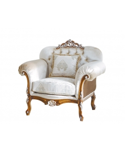 Poltrona classica da salotto con tessuto bianco e atruttura in legno massello di faggio, Arteferretto