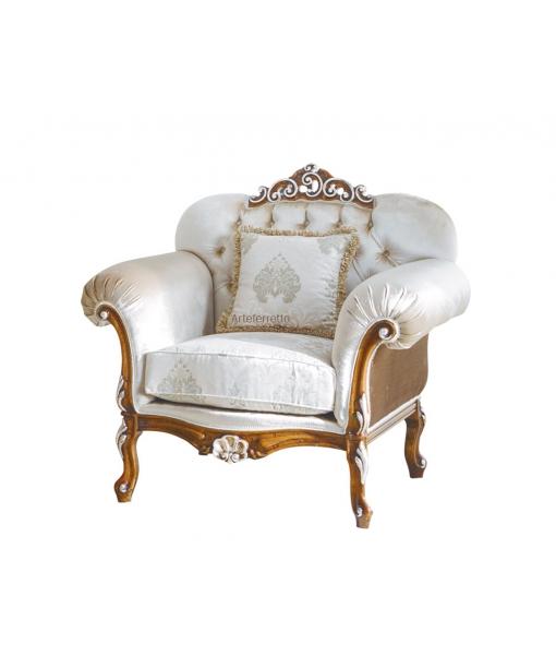 Poltrona classica da salotto con tessuto bianco e  atruttura in legno massello di faggio, Art. MS-C32-P