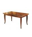 Tavolo da pranzo rettangolare intarsiato allungabile in legno