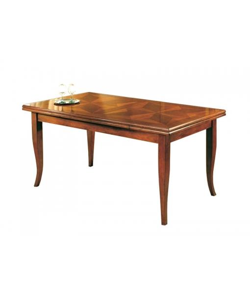 Tavolo da pranzo rettangolare intarsiato allungabile in legno, Art. RF-E02