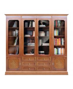 vetrina libreria a muro con 4 ante a vetro, composizione parete con vetrine, mobile parete Arteferretto