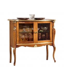Mobile vetrinetta bassa con due ante, dettagli intagliati e con foglia oro, Arteferretto