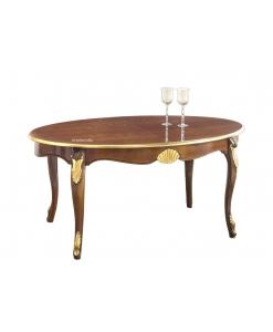 Tavolo ovale intarsiato con bordo oro e intagli dorati