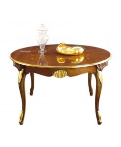 Tavolo rotondo da pranzo con piano intarsiato e gambe intagliate
