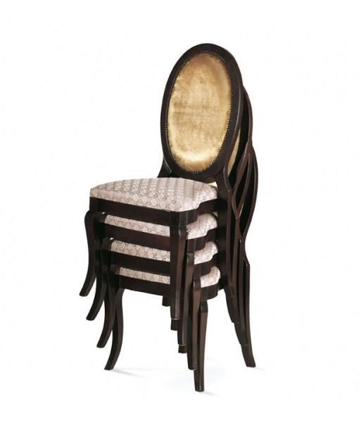 Sedia imbottita impilabile, struttura in legno