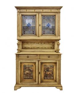 Credenza vetrina antiquariato, vetro decorato, 4 ante, sala da pranzo, salotto, Arteferretto