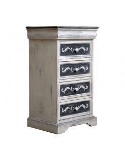 Comodino cassettiera 4+1 cassetti, con finitura antiquariato e decorazioni fatte a mano