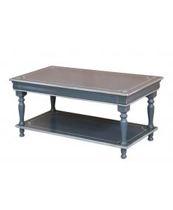 Tavolino basso da salotto ad effetto invecchiato, con decorazioni fatte a mano
