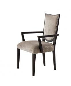 Sedia capotavola con braccioli, stile moderno, sedia nera e tessuto grigio