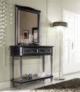 Tavolino consolle da salotto nero con dettagli argento