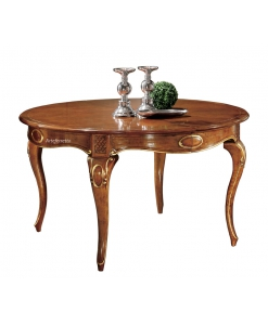 Tavolo in legno rotondo allungabile intagliato