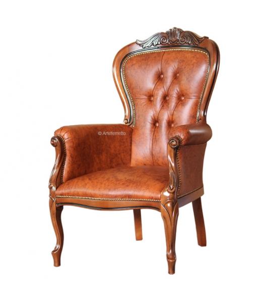 Poltrona da salotto in pelle con solida struttura in legno di faggio, Art. GM-445-LX