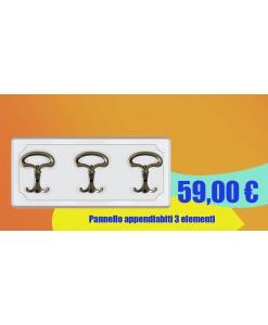 Pannello appendiabiti laccato a 3 elementi. Codice Prodotto: 3BBR
