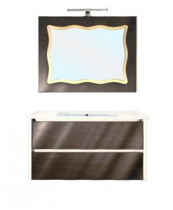 Mobile bagno pensile con lavabo e specchiera abbinata
