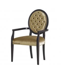 Sedia capotavola con schienale ovale, sedia con capitonné, sedia artigianale