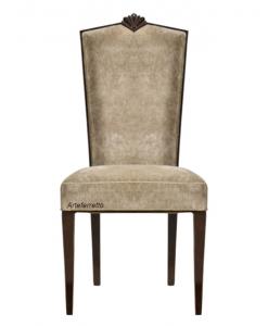 Sedia con intaglio per sala da pranzo, sedia imbottita, sedia tappezzata