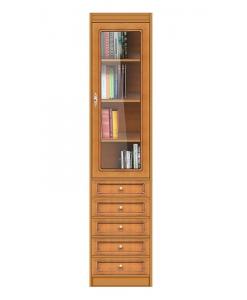 Modulo libreria 5 cassetti, 1 anta in vetro